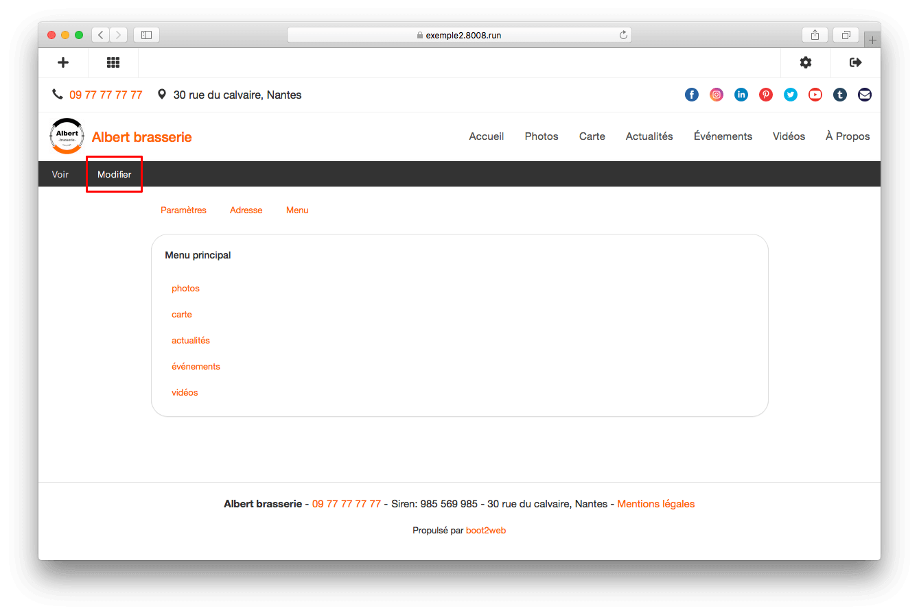 boot2web - le menu principal de votre site internet